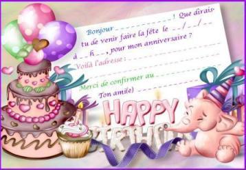Carte d'invitation anniversaire à imprimer avec gateau, cadeaux et éléphant rose